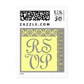 Wedding RSVP Stamp BANANA & GRAY Lace Stamp