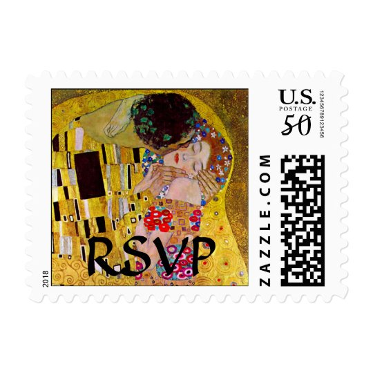 Wedding RSVP, The Kiss by Gustav Klimt Postage