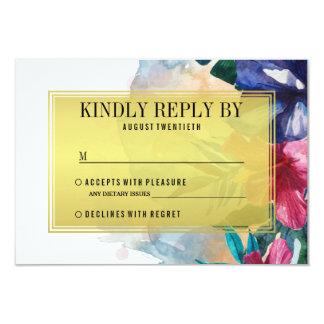 Wedding RSVP | Tropical Watercolor Flowers Card