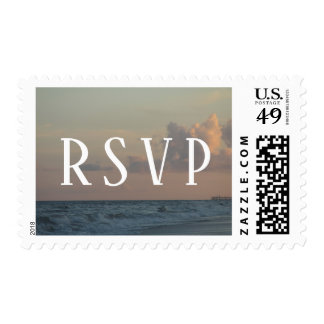 Wedding RSVP Typography w/ Beach Dusk Photo Postage