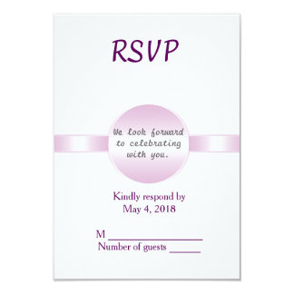 Wedding RSVP vertical- Pink Disc and Ribbon Card
