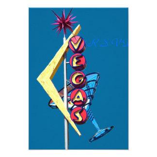 Wedding RSVP Vintage Neon Las Vegas Personalized Invites