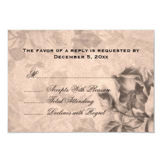 Wedding RSVP Vintage Roses Sepia Card