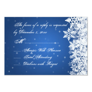 Wedding RSVP Winter Snowflakes Blue Sapphire 3.5x5 Paper Invitation Card