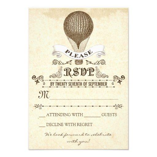 Wedding RSVP with romantic vintage hot air balloon Invites