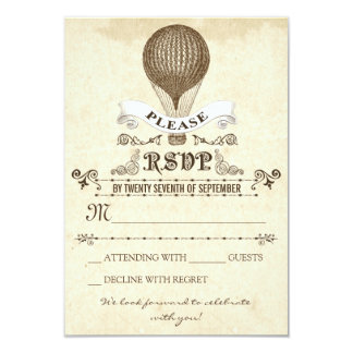Wedding RSVP with romantic vintage hot air balloon 3.5x5 Paper Invitation Card