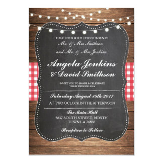 Wedding Rustic Chalk Wood Lights Barn Invite
