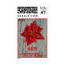 Wedding - Rustic Poinsettia Postage