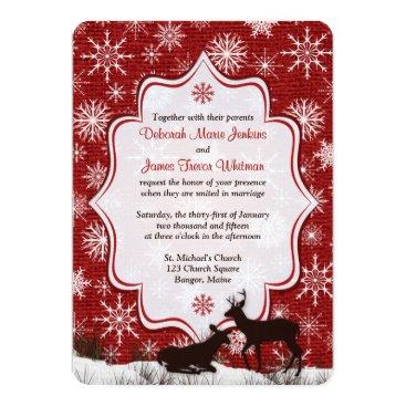 Wedding   Rustic Red Burlap   Snowflakes   Deer Card