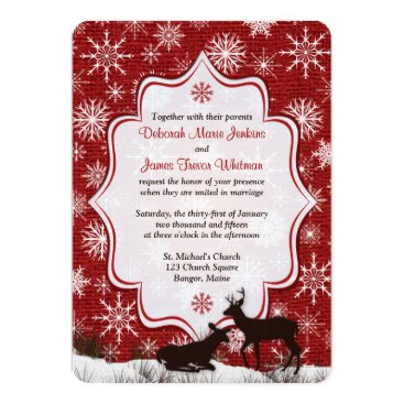 Wedding | Rustic Red Burlap | Snowflakes | Deer Invitation
