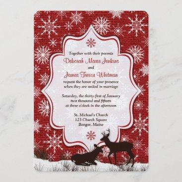 Wedding | Rustic Red Burlap | Snowflakes | Deer RSVP Card