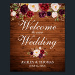 "Wedding Rustic Wood Burgundy Floral Welcome Poster<br><div class=""desc"">Rustic Wood Watercolor Burgundy Marsala Floral Wedding Welcome Poster</div>"