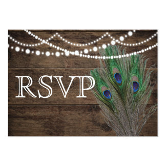 Wedding Rustic Wood Peacock Feathers RSVP Card