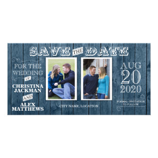 Wedding Rustic Wood Vintage Save The Date 2 Photo Photo Card Template