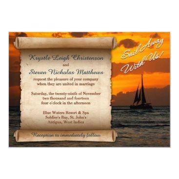 Beach Themed Wedding   Sail Away With Us!   Sailboat   Sunset Card