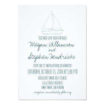 Beach Themed Wedding Sailboat - Invite