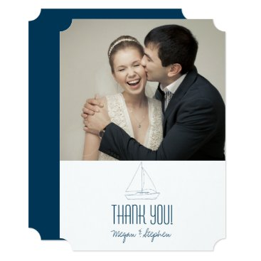 Beach Themed Wedding Sailboat - Thank You Card