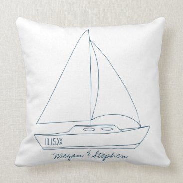 Beach Themed Wedding Sailboat Throw Pillow