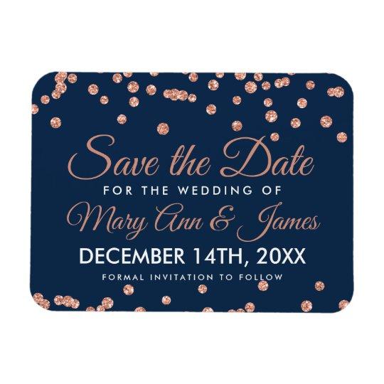 Wedding Save Date Rose Gold Glitter Confetti Navy Magnet