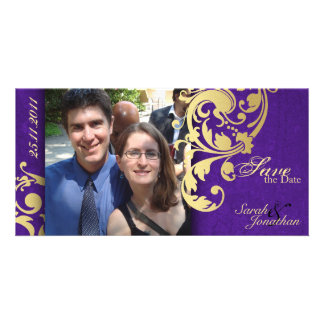 Wedding Save the Date Announcement - Purple Gold Personalized Photo Card