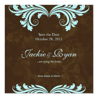 Wedding Save the Date Antique Rose Brown Blue Card