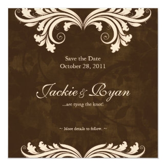 Wedding Save the Date Antique Rose Brown Cream Card