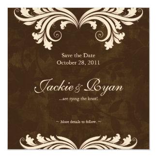 Wedding Save the Date Antique Rose Brown Cream Invitation