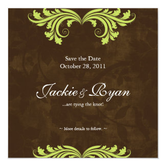Wedding Save the Date Antique Rose Brown Lime Card