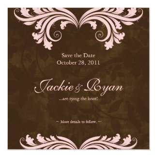 Wedding Save the Date Antique Rose Brown Pink Card