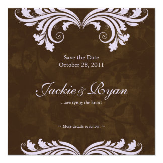 Wedding Save the Date Antique Rose Brown Purple Card