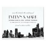 Wedding Save the Date   Art Deco Detroit Skyline 4.25x5.5 Paper Invitation Card