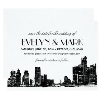 Wedding Save the Date   Art Deco Detroit Skyline Card