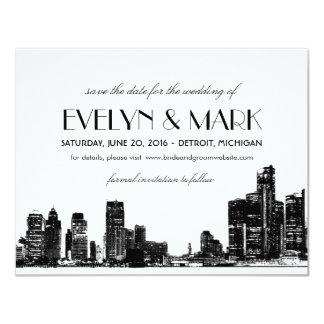 "Wedding Save the Date | Art Deco Detroit Skyline 4.25"" X 5.5"" Invitation Card"