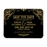 Wedding Save the Date | Art Deco Style Rectangle Magnet