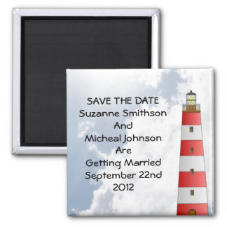Wedding Save the Date Beach Clouds Lighthouse 2 Inch Square Magnet