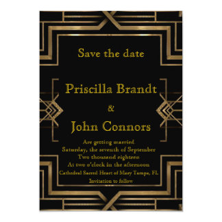 Wedding, Save the Date, black & gold, great-Gatsby Card