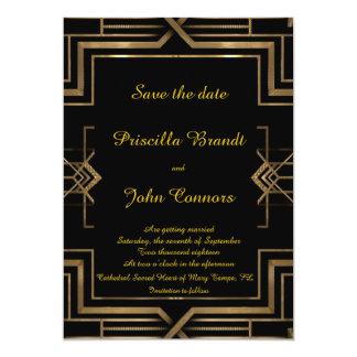 Wedding Save the Date,black,great-Gatsby,script Card