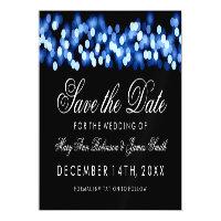 Wedding Save The Date Blue Hollywood Glam Magnetic Card (<em>$3.15</em>)