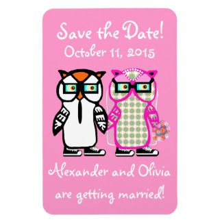 Wedding Save the Date Bride & Groom Owl Magnet