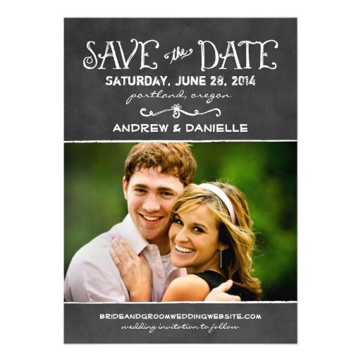 Wedding Save the Date Card | Black Chalkboard