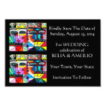 """Wedding 'Save The Date' Card - Day Of The Dead 3.5"""" X 5"""" Invitation Card"""
