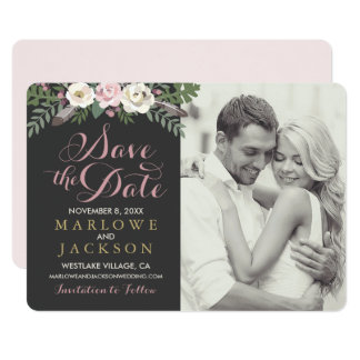 Wedding Save the Date Card | Fall Boho Florals