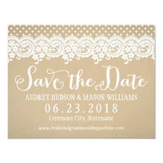 Wedding Save the Date Card   Lace and Kraft