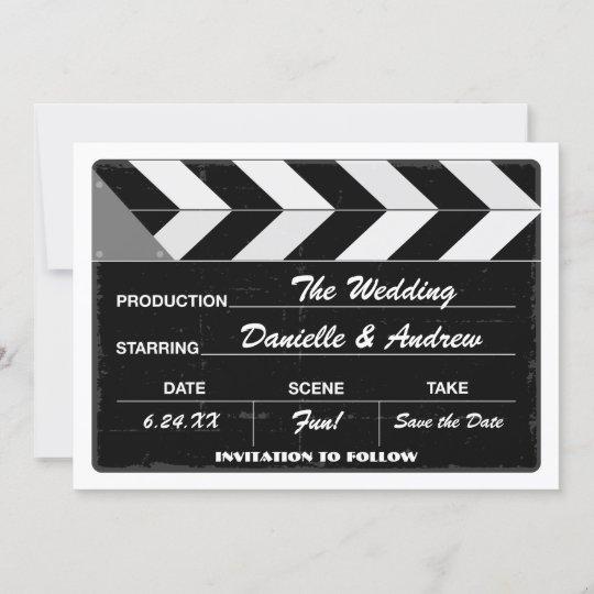 wedding save the date card movie clap board zazzle com