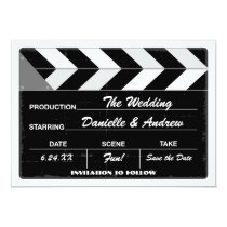 Wedding Save the Date Card | Movie Clap Board