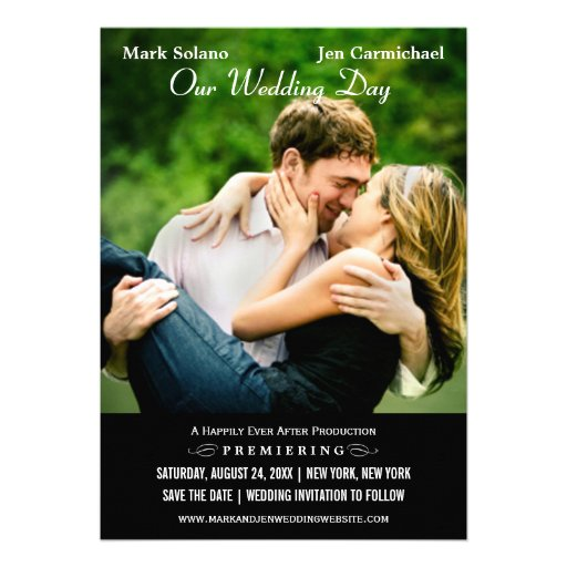 Wedding Save the Date Card | Movie Poster Design Custom Invites