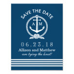Wedding Save The Date Card | Navy Nautical Stripes