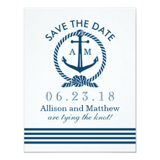 Wedding Save The Date Card   Navy Nautical Stripes