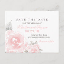 Wedding Save the Date Card | Pink Watercolor Roses