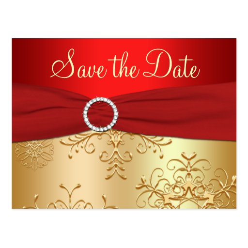 Wedding Save the Date Card | Red, Gold Snowflakes | Zazzle